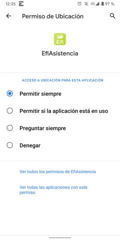 Opciones de permisos de ubicación de la app