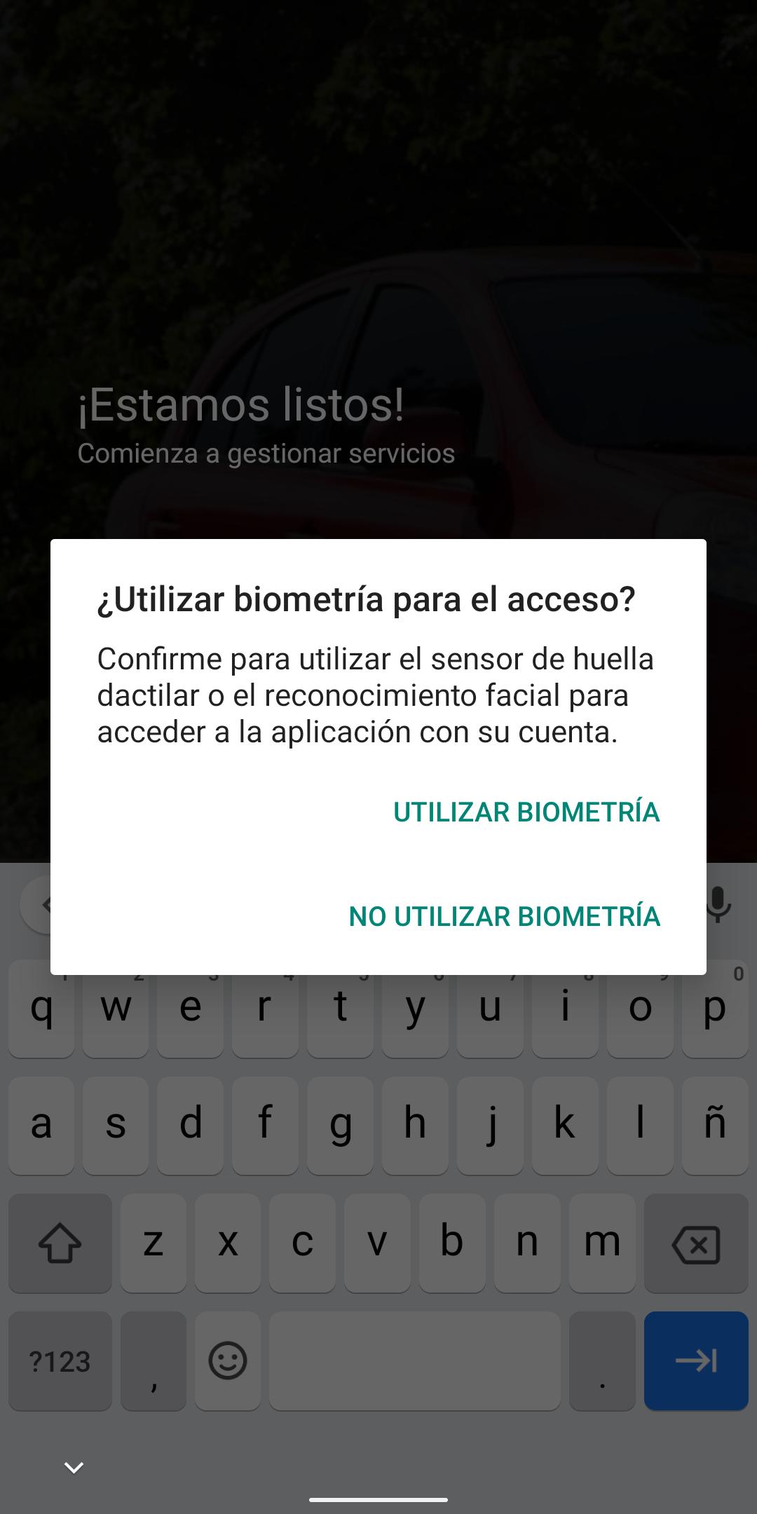 Permiso para utilizar biometría o huella dactilar para el acceso a la app
